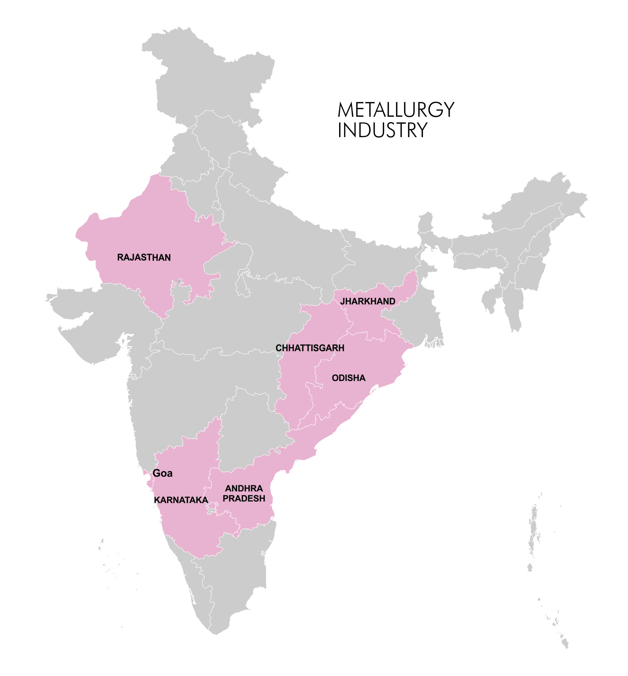 Map- Industry Clusters - Metallurgy & Mining