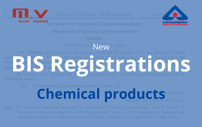 New BIS Registration - Chemical Products in India