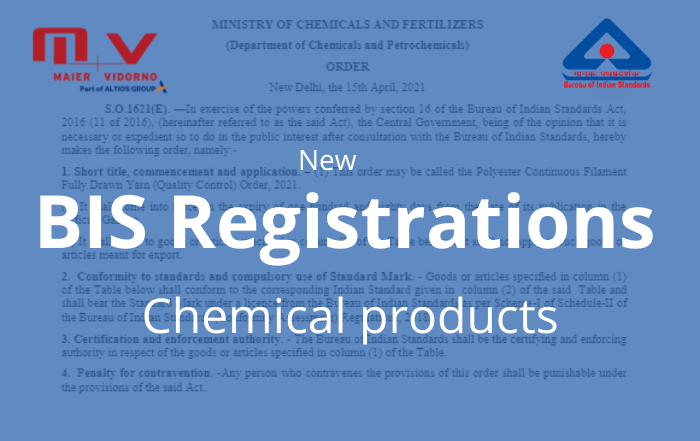 New BIS registration of chemical products 2021